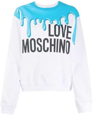 Love Moschino Paint Print Logo Print Jumper