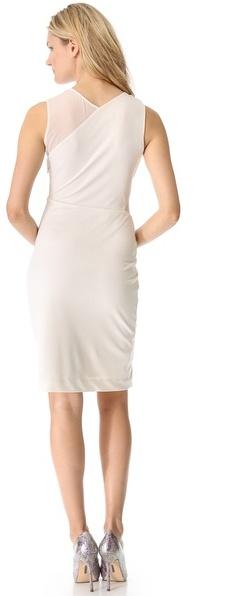 Halston Sheer Contrast Dress