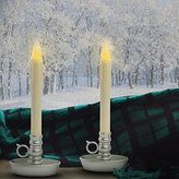 Set of 2 Classic Flameless Ivory Drip Taper LED Candles with Pewter Finish Candlesticks with Holder and Auto Timer - Batteries Included
