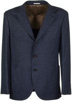 Brunello Cucinelli Wool And Cashmere Knit Effect Diagonal Twill Deconstructed Blazer With Patch Pockets