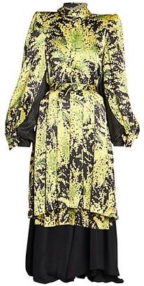 Balenciaga Double Pleated Silk Midi Dress