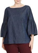 Lauren Ralph Lauren Plus Denim Bell-Sleeve Shirt