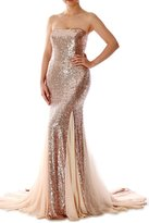MACloth Mermaid Strapless Sequin Long Evening Dress Prom Formal Gown Court Train