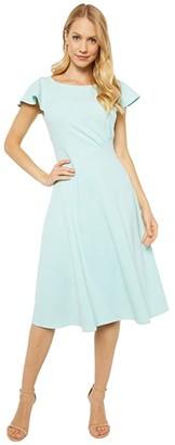Calvin Klein Short Sleeve A-Line Dress with Seam Detail (Seaspray) Women's Dress
