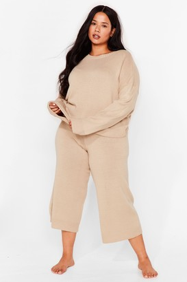 Nasty Gal Womens You've Met Your Match Plus Knitted Lounge Set - Oatmeal