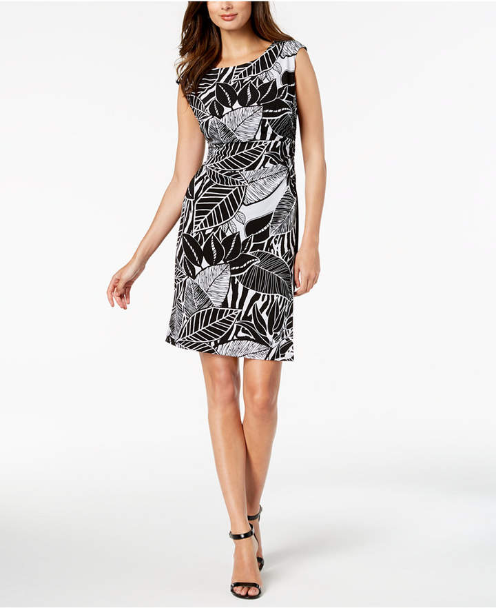 Connected Printed Draped Faux-Wrap Dress