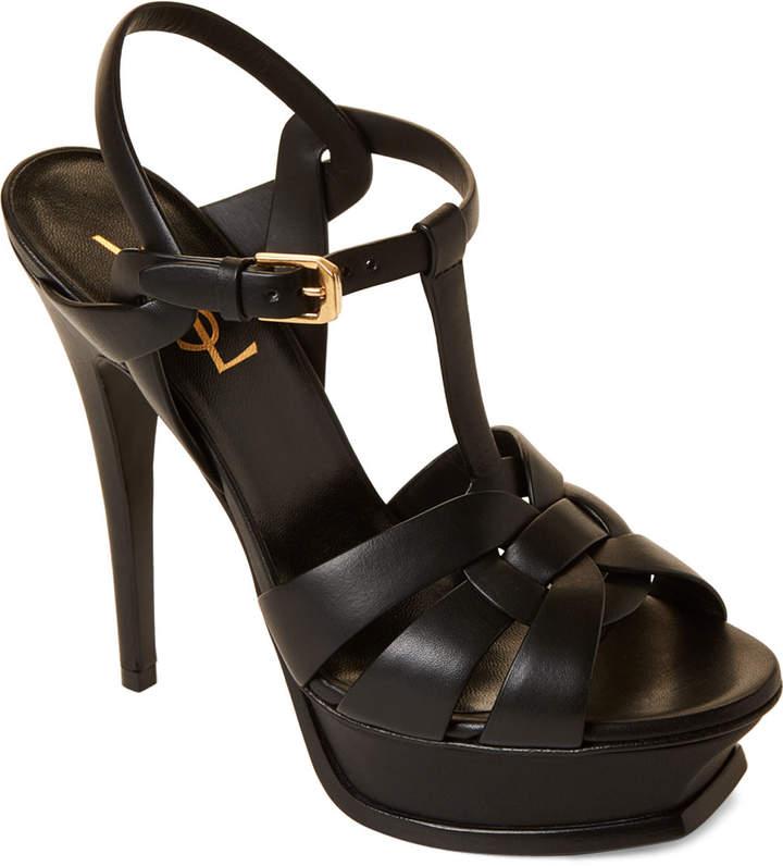Saint Laurent Black T-Strap Platform Suede Sandals