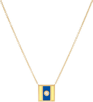K Kane Code Flag Square Diamond Pendant Necklace - D