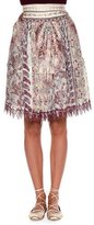 Etro Embellished-Waist Ruched Skirt, Pink/Red/Multi