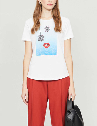 Maje Graphic print cotton-jersey T-shirt