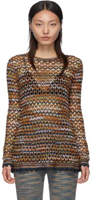 M Missoni Blue Crochet Sweater