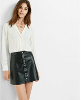 Express Minus the) leather button front a-line skirt