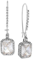 Betsey Johnson Silver-Tone Crystal and Pavé Square Drop Earrings