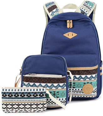 Ella & Elly Women's Clutches Blue - Blue Geometric Backpack Set