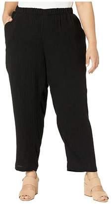 Eileen Fisher Plus Size Organic Cotton Lofty Gauze Ankle Pants (Black) Women's Casual Pants