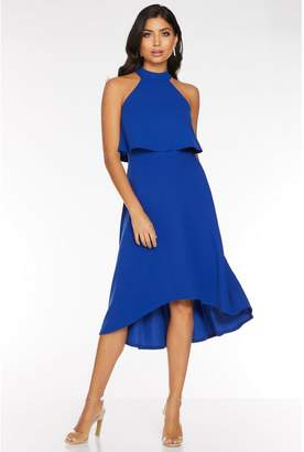 Quiz Royal Blue High Neck Dip Hem Dress