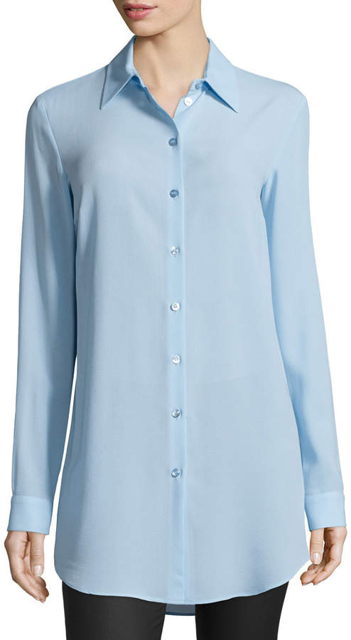 Michael Kors Long-Sleeve Button-Front Long Shirt, Ice
