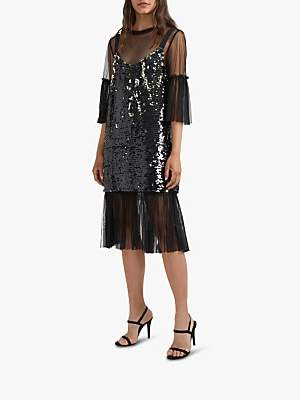 French Connection Eve Sequin Midi Dress, Black