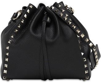 Valentino Rockstud Grained Leather Bucket Bag