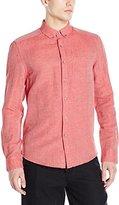 Kenneth Cole New York Men's Long-Sleeve Button-Down Collar Linen Slub Shirt