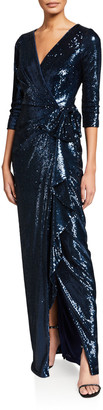 Rickie Freeman For Teri Jon Sequin Elbow-Sleeve Wrap-Front Column Gown