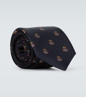 Gucci Double G crown jacquard silk tie