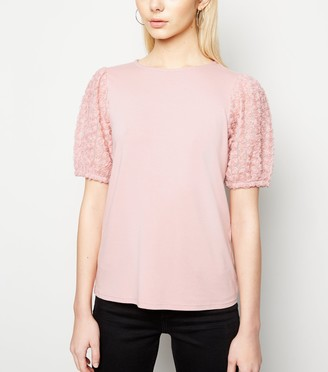 New Look 3D Floral Sleeve T-Shirt