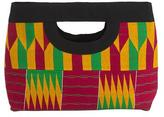 Kente Cloth Cotton Clutch Handbag, 'Ashanti Colors'