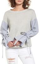 BP Women's Mixed Media Tie Sleeve Top