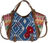 Desigual Blue & Red Patchwork Satchel