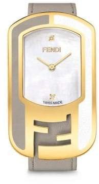 Fendi Chameleon Diamond, Mother-Of-Pearl, Goldtone stainless Steel & Leather Strap Watch/Tortura