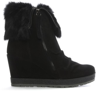 Daniel Grateful Black Suede Fur Cuff Wedge Ankle Boots