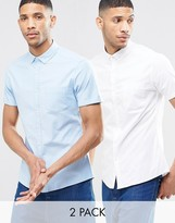 Asos Skinny Oxford Shirt Twin Pack in White and Blue With Short Sleeves