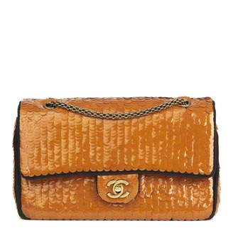Chanel Timeless/Classique Orange Glitter Handbags