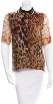 Bouchra Jarrar Silk Leopard Print Top w/ Tags