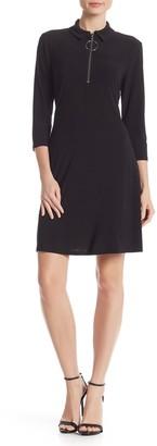 MSK 3/4 Sleeve Front Zip Dress