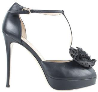 Valentino Black Leather Rose Details Open Toes Platform Heels Sandals Size 37