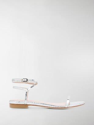 Stuart Weitzman Metallic Wrap Sandals
