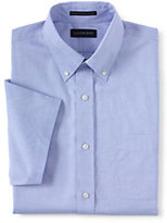Lands' End Men's No Iron Traditional Fit Supima Pinpoint Dress Shirt-Classic Navy/White Stripe