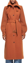 Chloé Brushed Wool Knit-Sleeve Long Coat with Belt, Dark Orange