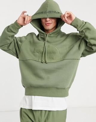 Russell Athletic fleece logo hoodie in khaki