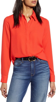 Halogen Hidden Button Long Sleeve Blouse