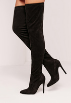 Missguided Black Faux Suede Pointed Toe Over The Knee Heeled Boots