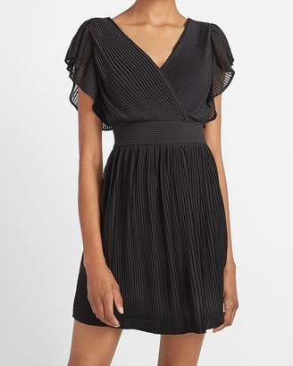 Express Pleated Ruffle Sleeve Dress