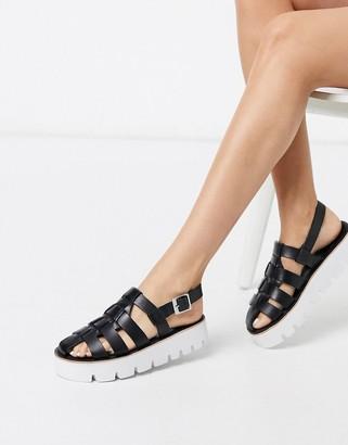 Grenson Marilyn black leather chunky sandals