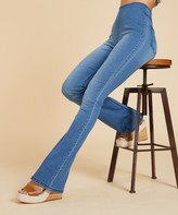 Suzanne Betro Weekend Women's Denim Pants and Jeans 102LIGHT - Light Blue Destroy Super-Stretch High-Rise Flare Jeggings - Women & Plus