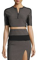 KENDALL + KYLIE Sporty Diamond-Pattern Mesh-Inset Crop Top