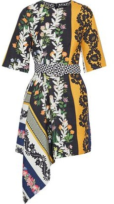 Oscar de la Renta Asymmetric Belted Printed Wool-twill Mini Dress