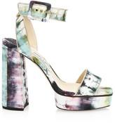 Jimmy Choo Jax Metallic Tie-Dye Ankle Strap Sandals