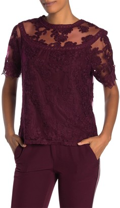 Laundry by Shelli Segal Embroidered Mesh Lace Top